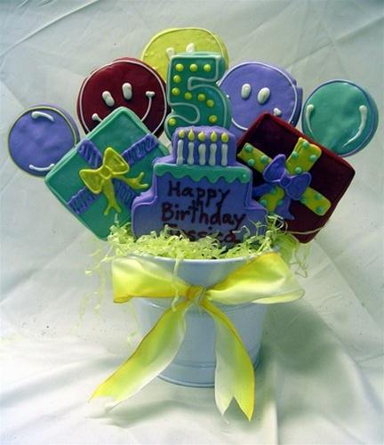Hand Dec. Birthday Cookie Bouquet